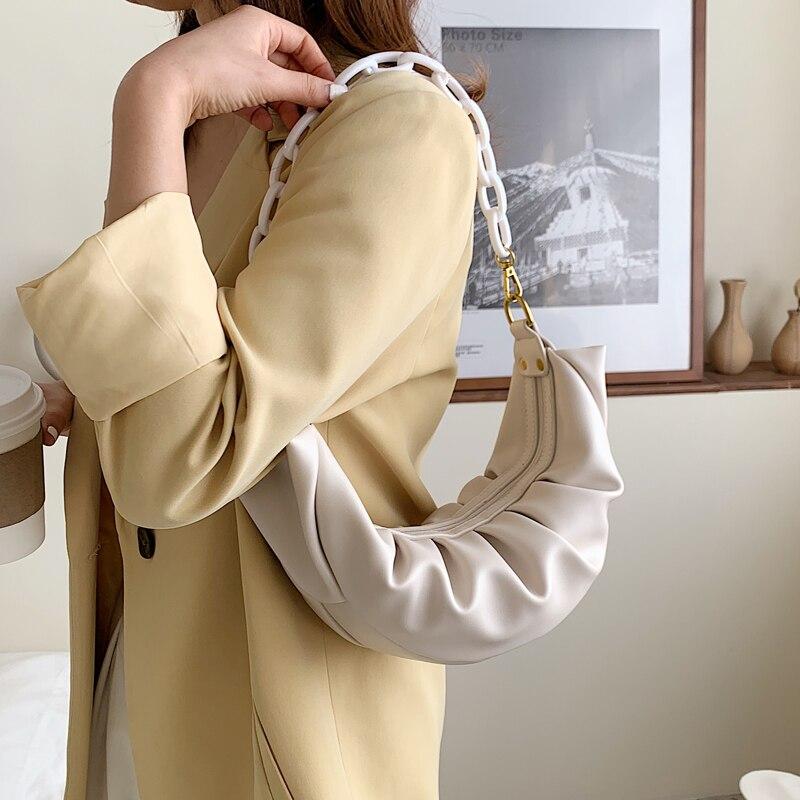Elegant Female Chain Tote Bag 2020 New Quality PU Leather Women's Designer Handbag Creased Shoulder Messenger Bag Underarm Bag