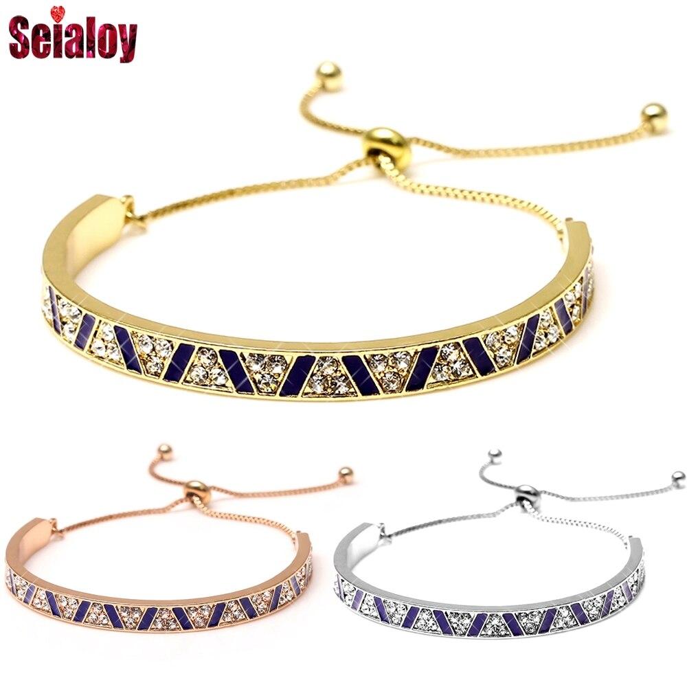 European Fashion Rhine Rhinestone Zircon Multi-Layer Golded Bangle Bracelet Quality Charm Couple Bracelet For Women Men