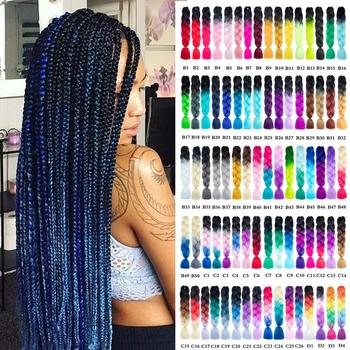 Aigemei 24Inches High Temperature Fiber Braiding Jumb Ombre Synthetic Crochet  HairExtensions 100g 24Inch Hair For Women - discount item  49% OFF Synthetic Hair
