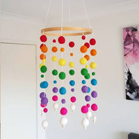 Nursery Craft Photo Props Handmade Wind Chimes Felt Ball Decoration Gift Baby Beautiful Bed Hanging Wooden Durable Kids Room