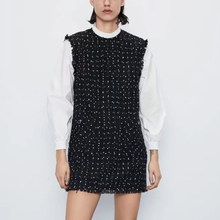 ZA women 2020 spring NEW Black white stitching knitted dress elegant Vintage sweet casual chic lady dresses(China)