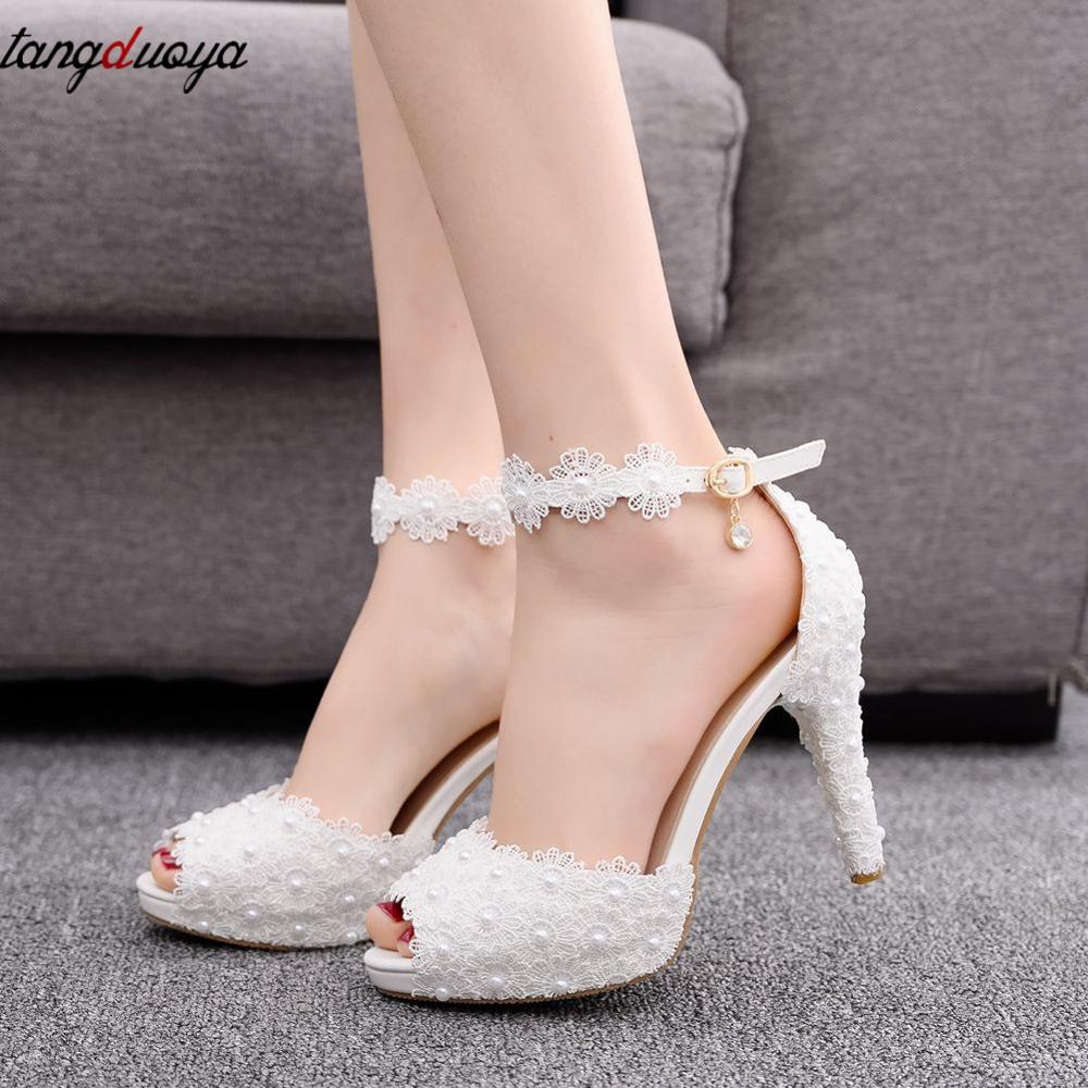 Women Bridal Shoes Wedding Shoes Women White Lace High Heels Pumps Women Shoes Pointed Toe Stiletto Heels Flower High Heel Shoes