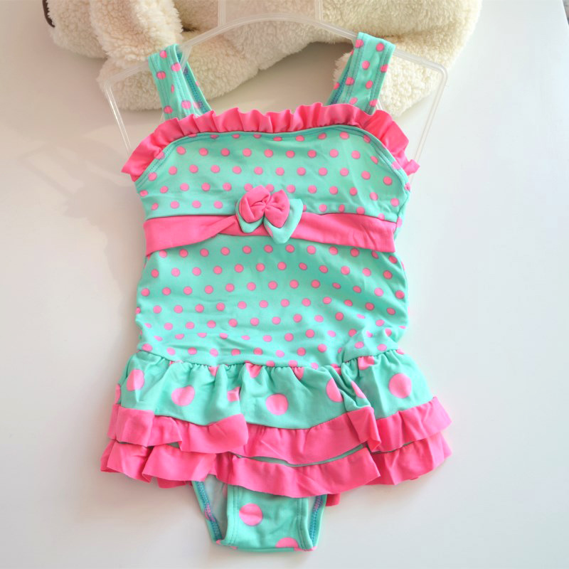 Special Offer KID'S Swimwear Big Boy GIRL'S Bow Dotted Floral-Print One-piece Swimming Suit Multi-color Miscellaneous