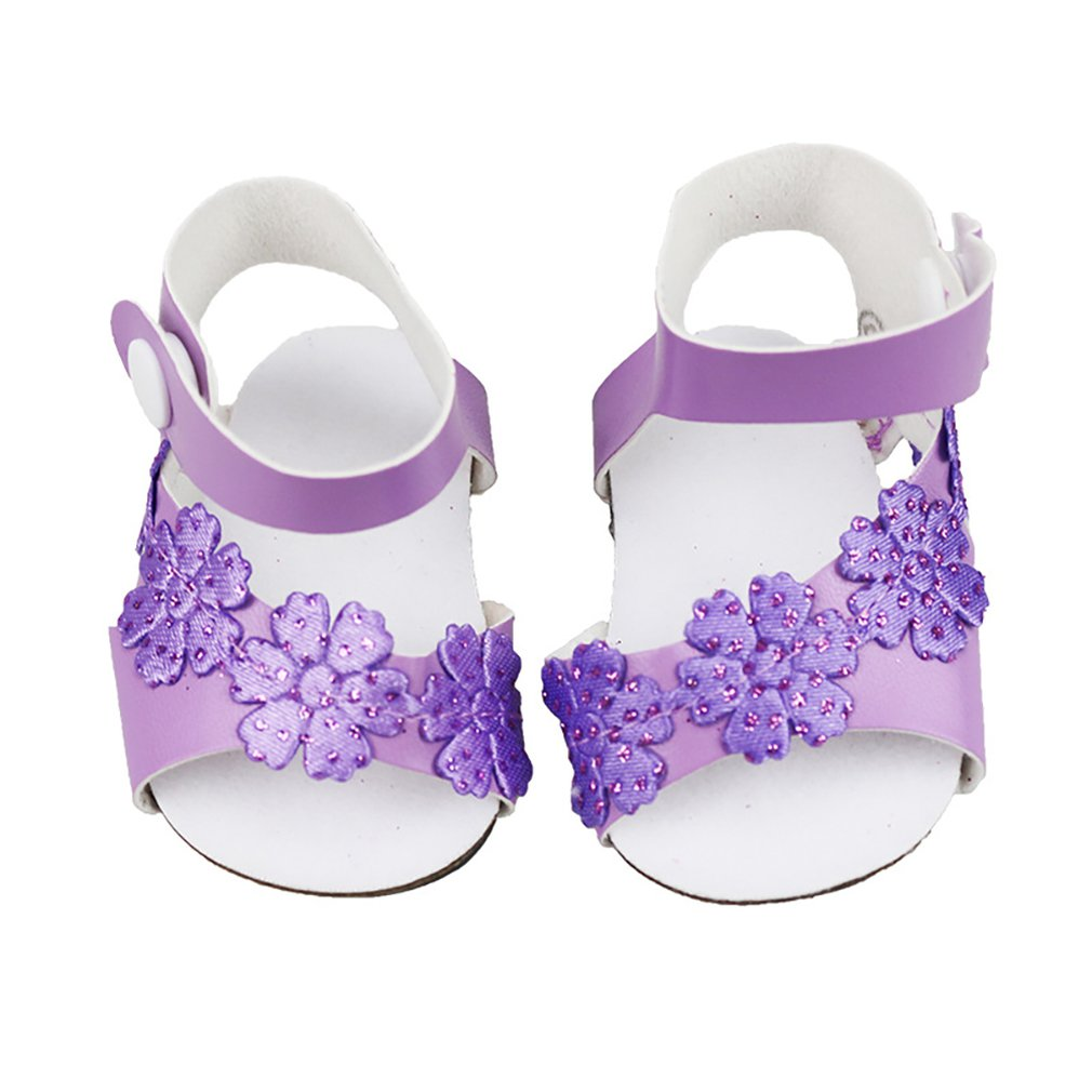 Sweet Floral Party Shoes for 18inch American Doll Clothes Decor Purple