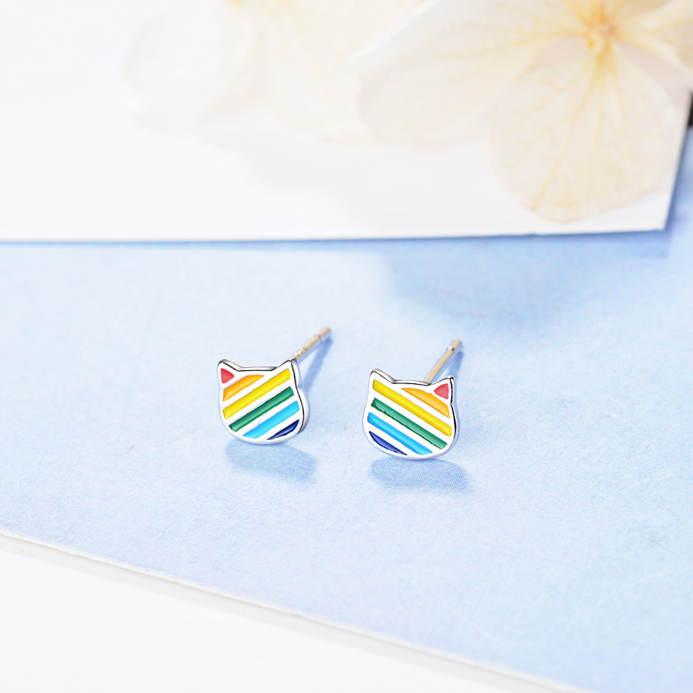 FENGLI Lovely Children Stud Earrings Oil Bee Whole Cartoon Small Earring Silver Color Rainbow Colorful Jewelry Women 2019 Gift