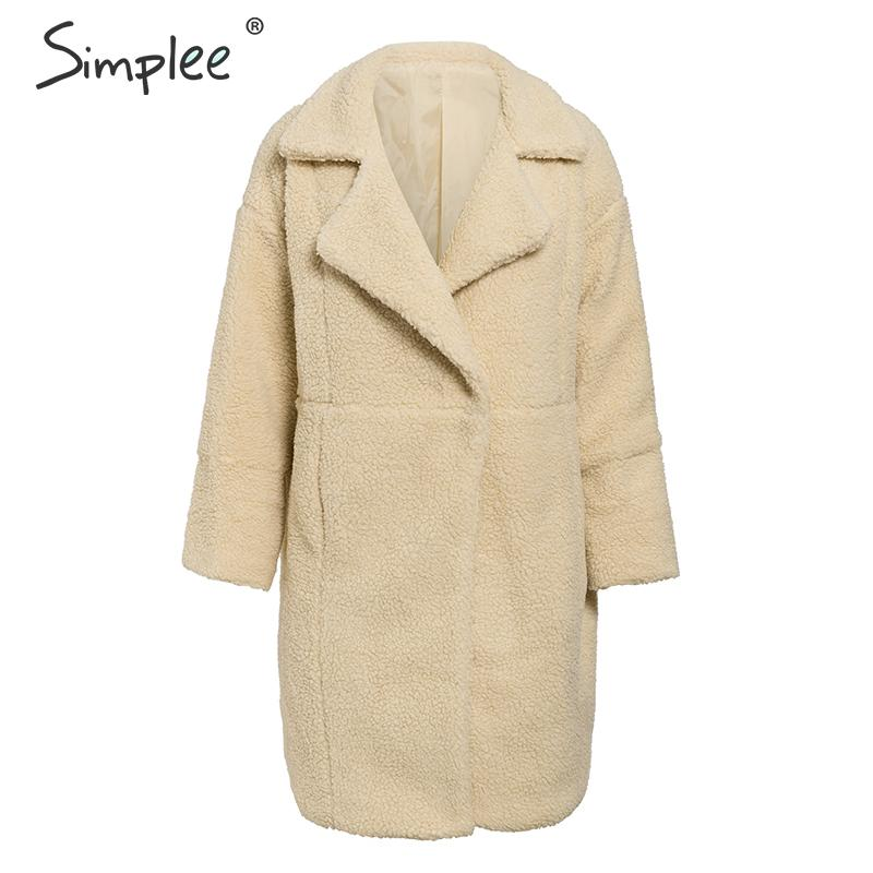 Simplee Fashion Lambs Wool Women Fur Coat Autumn Winter Plus Size Female Warm Coats Buttons Streetwear Ladies Thick Overcoats