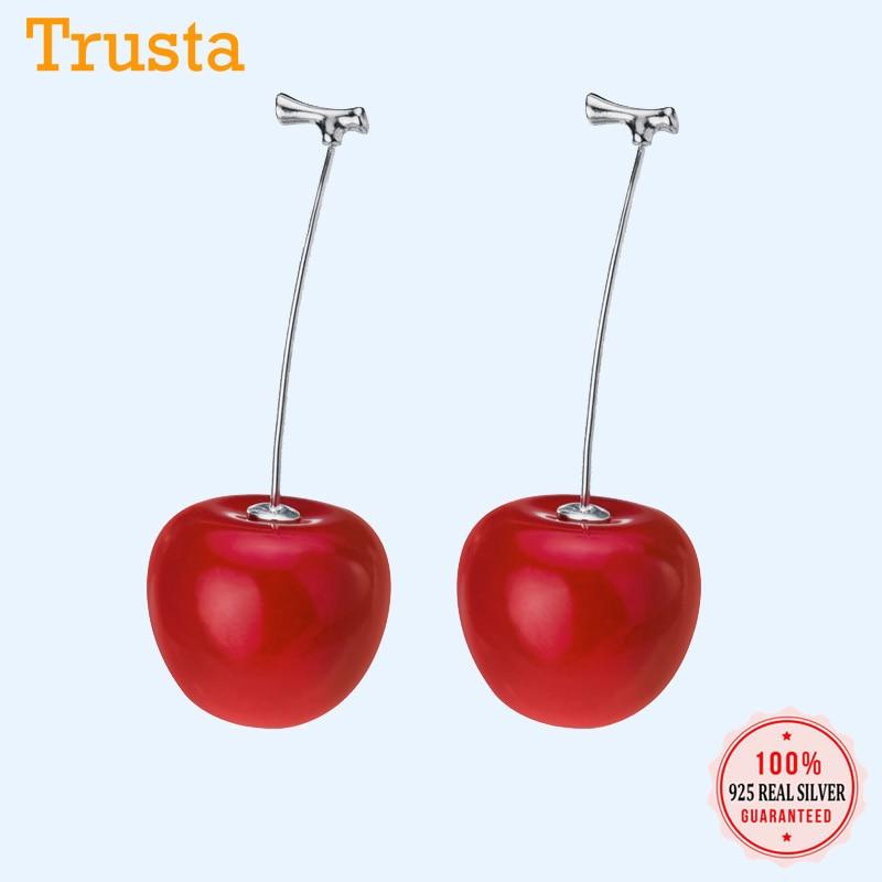 Trusta Fashion Genuine 925 Sterling Silver Charms Fine Fruit Cherry Stud Earrings For Women Silver 925 Earring Jewelry DA163