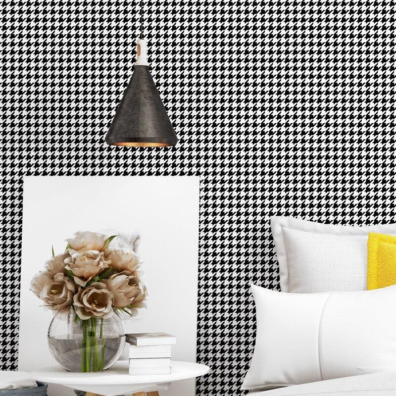 Beibehang nouvelle mode pied de poule noir et blanc plaid papier peint moderne minimaliste plaine style nordique salon fond