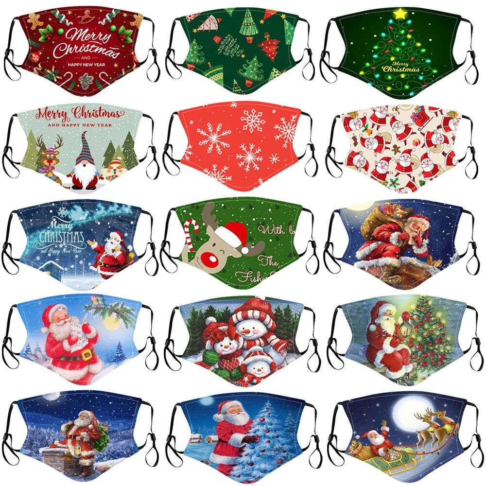 Mask Child Washable Christmas Decorations 2021 Christmas Goods Reusable Mouth Face Mask Children for 2020 New Year Party Decor 1