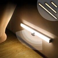 luces automaticas de armario luz led con sensor de movimiento para debajo del armario, lámparas de linterna nocturna con imán para armario, recargable y automático