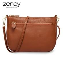 Zency 100% 本革茶色のハンドバッグファッション女性クロスボディバッグ小フラップバッグシンプルな女性のショルダー財布メッセンジャー