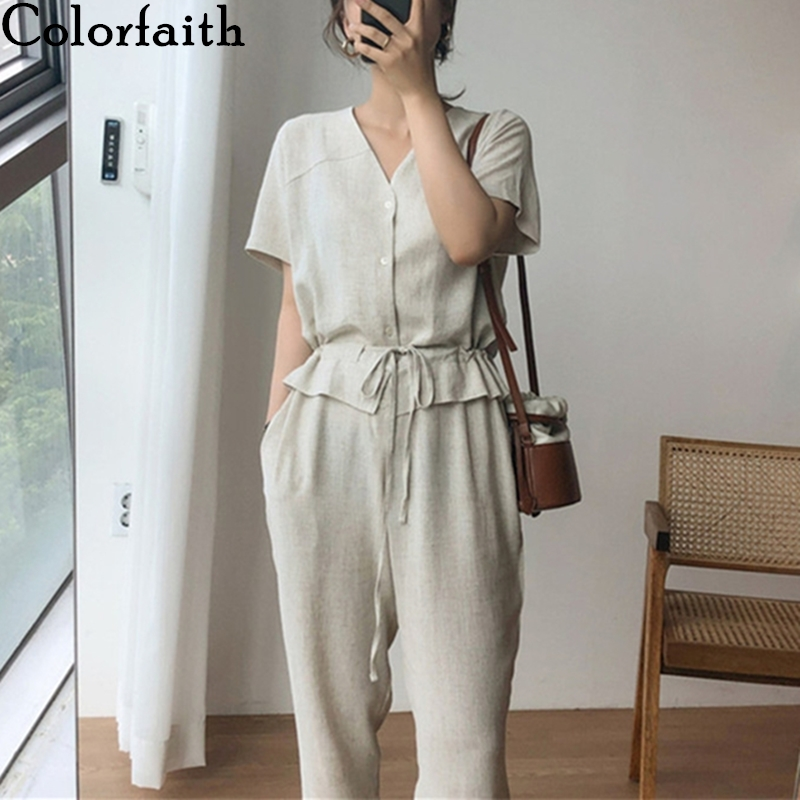 Colorfaith 2020 New Summer Women Jumpsuits & Rompers Casual Cotton and Linen Ankle-Length Pants Fake Two Pieces Playsuit JS8118