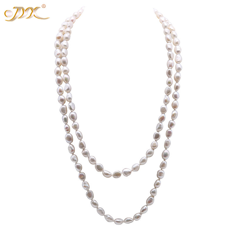 """Long Pearl Necklace White Cultured Freshwater Baroque Pearls 48/"""" Opera Length"""