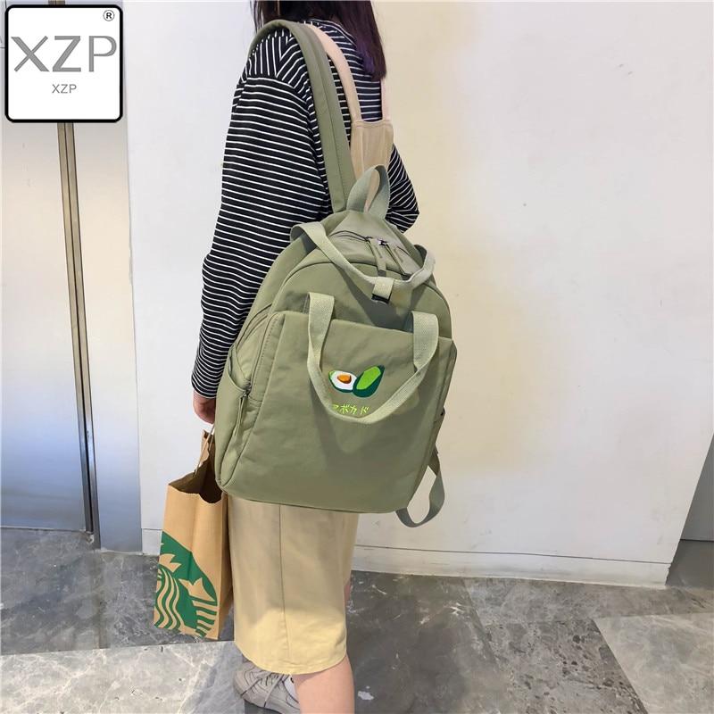 XZP Avocado Fruit Embroidery Women Backpack Shoulder Bag Waterproof Nylon Bagpack Casual Schoolbag For Teens Female Backpack
