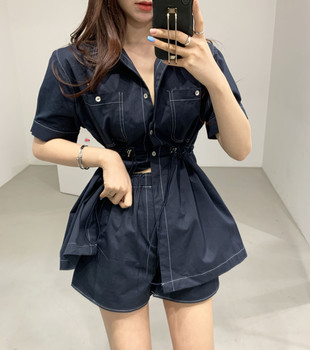 Women summer Pants two piece set Suits Office Lady casual Top shorts 2 piece suit set Fashion waist shorts two-piece ka953 2 piece set women sports suit female summer 20 new loose hip hop foreign fashion two piece set tide two piece set top and pants