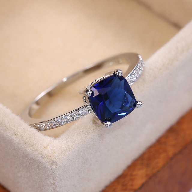 Huitan Square Blue Series Stone Women Rings Simple Minimalist Pinky Accessories Ring Band Elegant Engagement Jewelry Rings 2