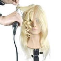 Женский манекен для укладки волос, тренировочная голова, 16 дюймов, натуральные волосы, куклы, профессиональный манекен Maquiagem с большим плечо...