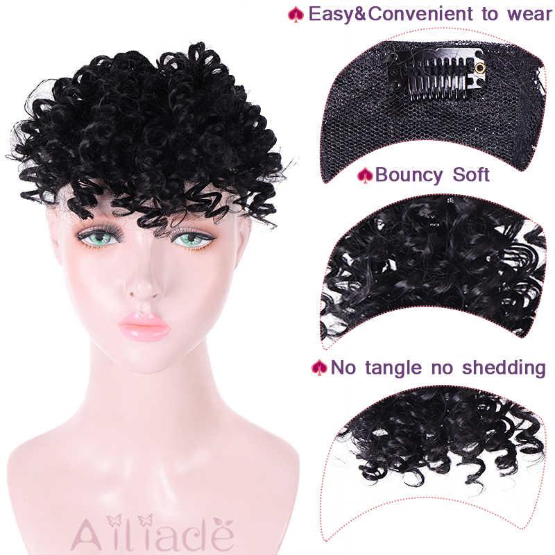 AILIADE Peluca de cola de caballo de pelo sintético, rizado, moño, moño, flequillo rizado, Clip en la extensión del cabello