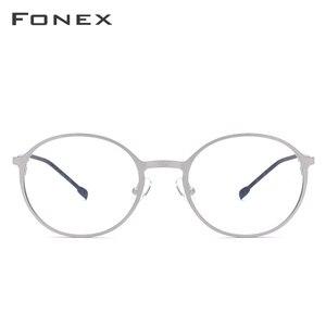 Image 3 - ラウンド処方メガネ、超軽量のチタン合金近視メガネフレーム、韓国スタイル無ねじ処方メガネ、男女共用 8821