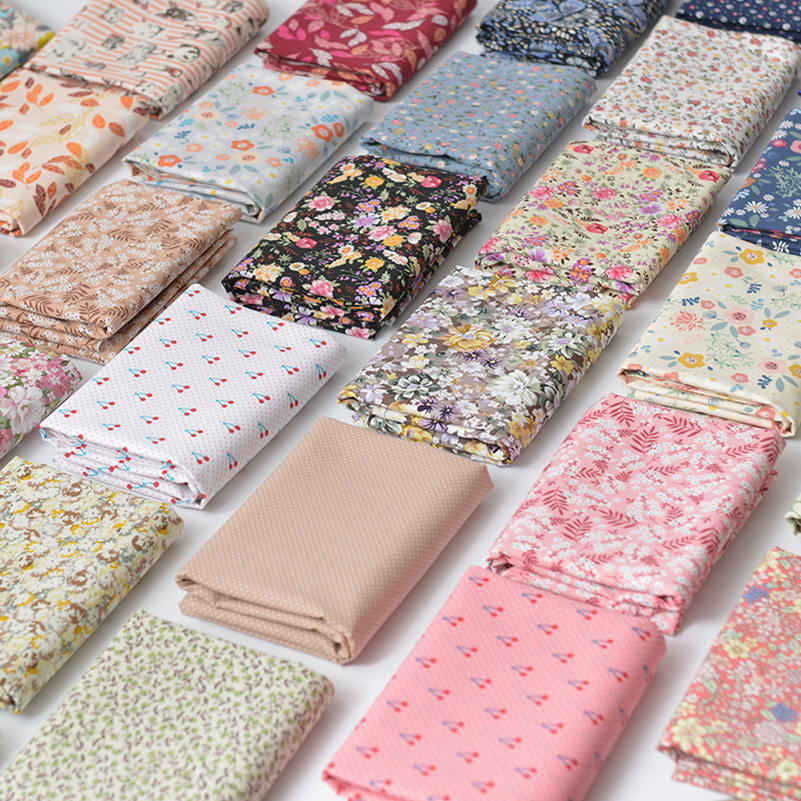 Floral Print Cotton Poplin Thin Fabric for DIY Children Clothes Handmade Accessories by the Meter 140x50cm