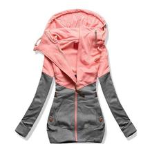 Yiwa Women Hooded Jacket Long Sleeve Matching Color Zipper Casual Thicken Outerwear Coats Thick Warm Faux Overcoat