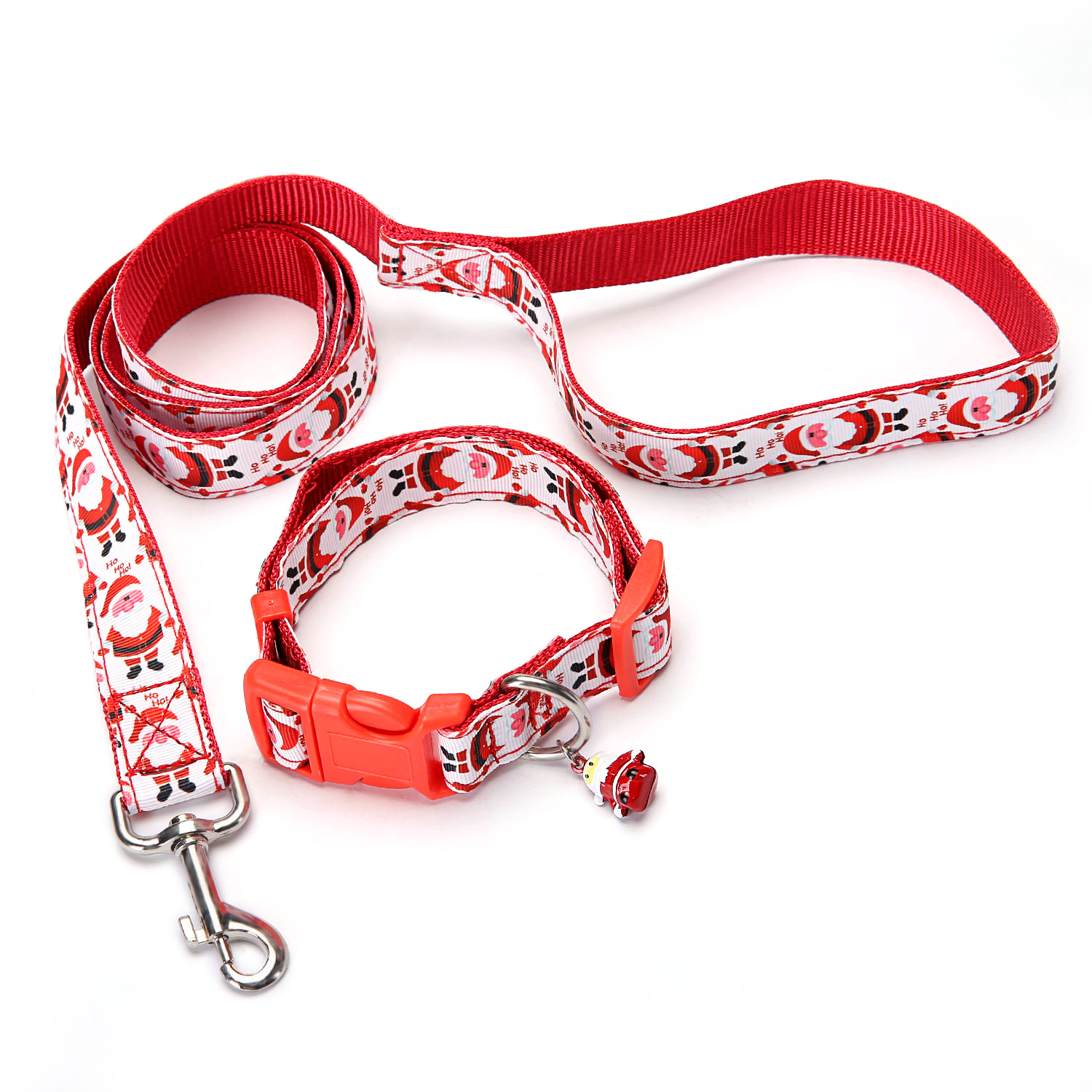 Christmas Pet Traction Rope Neck Ring Dogs And Cats Traction Set Christmas Bell Neck Ring Dog Extend Lanyard