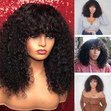 13x4 perucas encaracoladas da parte dianteira do laço perucas com franja frente do laço prepluck 150 densidade perucas de cabelo humano peruca franja peruana onda cheia do laço