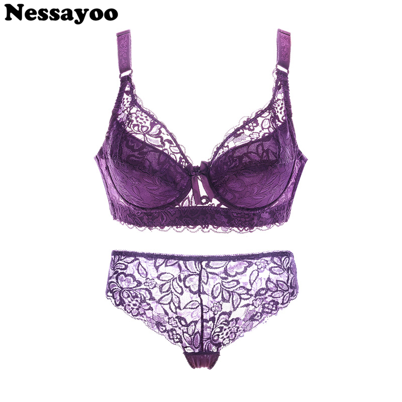 Sexy Bra Sets Lace Transparent Push Up Bra+pant Women Lingerie Bralette Seamless Thong Panties Wire Free Thin Underwear Lenceria