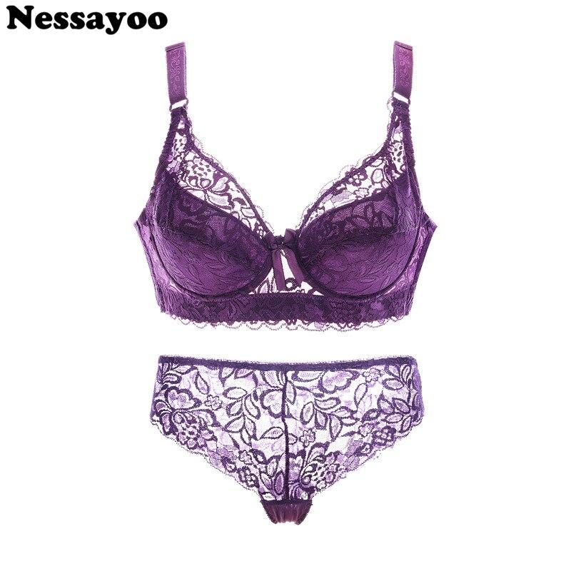 Sexy   bra     sets   lace transparent push up   Bra  +pant women lingerie bralette seamless thong panties wire free thin underwear lenceria