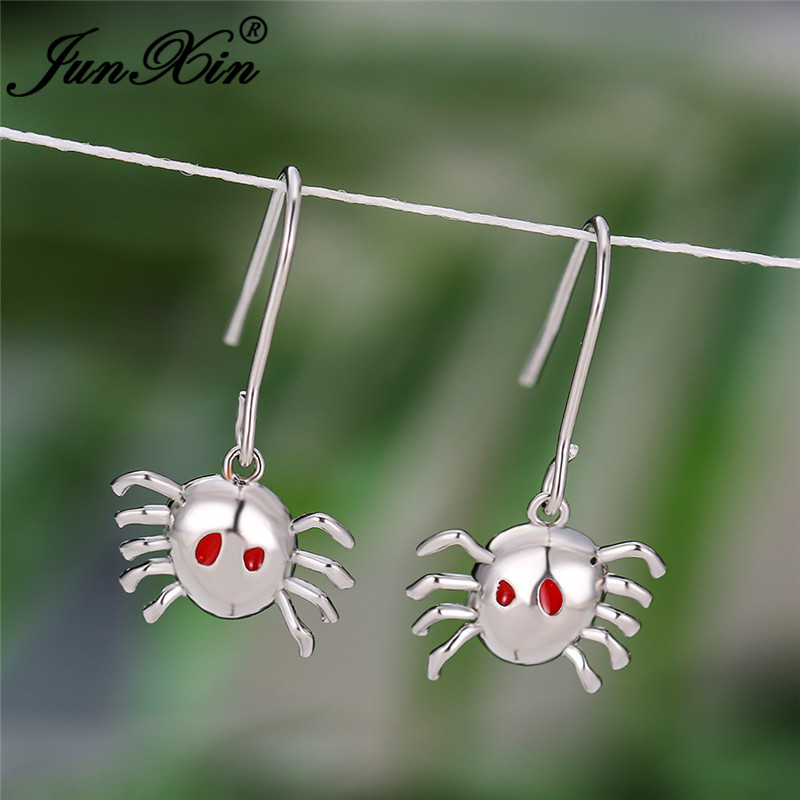 Halloween Day Cute Animal Crab Earrings White Gold Rose Gold Color Red Enamel Wedding Party Drop Earrings For Women Men Jewelry
