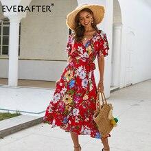 Женское летнее платье everafter Хлопковое макси с v образным