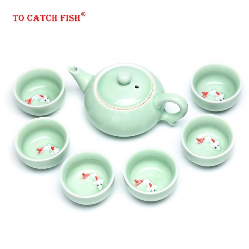 Оптовая продажа китайский Селадон чайные наборы 6 шт чайная чашка 1 шт чайный горшок. Кунг-фу чай самые высокие продажи чайного набора. Самая ...