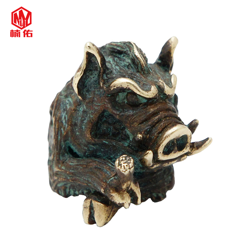 1PC Wild Boar Monster Retro Brass Bronze EDC Paracord Beads Knife Beads Rope Cord Bracelet Flashlight Beads Lanyard Pendant