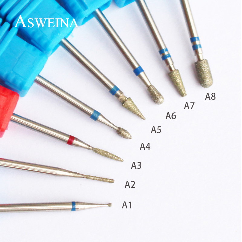 ASWEINA 8 Type Diamond Nail Art Drill Bit Burr Milling Cutter Electric Manicure Drill Bit Machine Nail Accessories Nail Tools