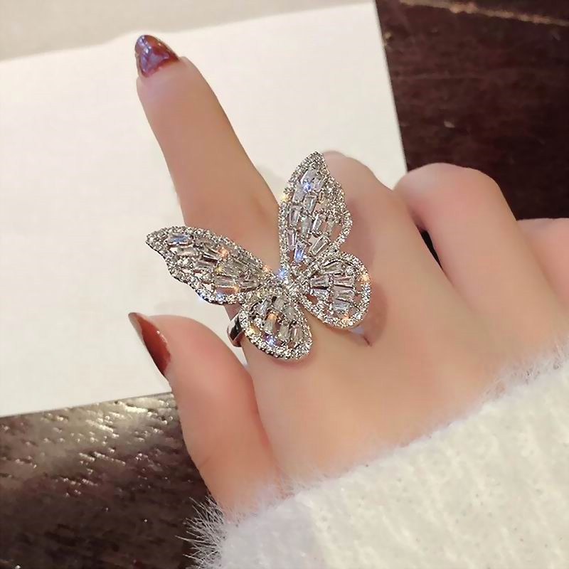 Open-Rings Jewelry Shinning-Zircon Micro-Pave Adjustable Big Butterfly Women New-Fashion