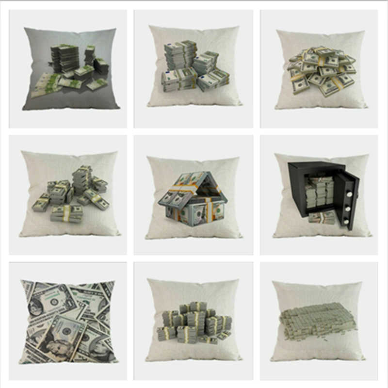 Funny US Dollar Bill Money Wealth Pattern Pillow Case Office Home House Sofa Chair Decor Pillowcase