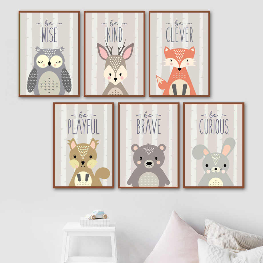 Fox Owl Rabbit Squirrel Deer Bear Animal Nordic Posters And Prints Wall Art Canvas Painting Nursery Wall Pictures Baby Kids Room