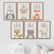 Fox Owl Rabbit Squirrel Deer Bear Animal Nordic Posters And Prints Wall Art Canvas Painting Nursery Pictures Baby Kids Room