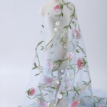 New mesh embroidered cloth plant flowers three-dimensional embroidery lace fabric girls dress dress fabric