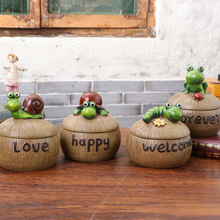 Yooap new creative personality with cover resin ashtray cartoon frog snail garden send boyfriend gift crafts