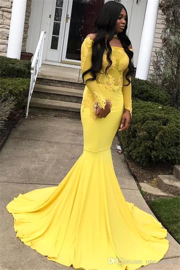 Купить с кэшбэком Yellow Prom Dresses Sexy Long Sleeve free shipping Mermaid Appliqued Evening Dresses Custom robe de soiree evening dress 2020