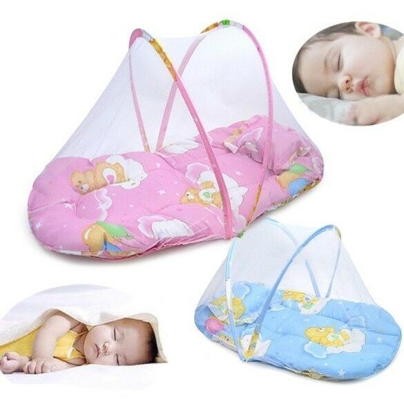 2020 Brand New Portable Foldable Baby Kids Infant Bed Dot Zipper Mosquito Net Tent Crib Sleeping Cushion Collapsible Portable