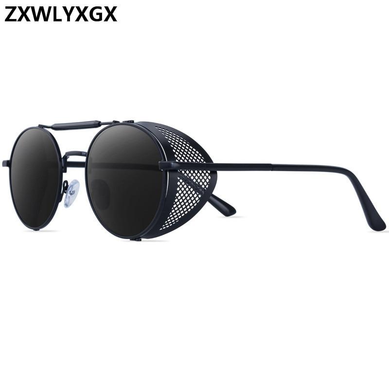 ZXWLYXGX Steampunk Sunglasses Shades Oculos-De-Sol Uv-Protection Round Metal Retro Designer