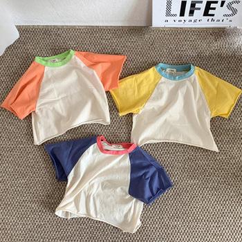 MILANCEL koszulki dziecięce solidne dziecięce koszulki dla chłopców koszulki z krótkim rękawem koszulki dla dzieci solidne koszulki dla niemowląt tanie i dobre opinie Moda COTTON Pasuje prawda na wymiar weź swój normalny rozmiar Stałe O-neck Topy Tees Unisex orange yellow and blue 66-70-80-90-100