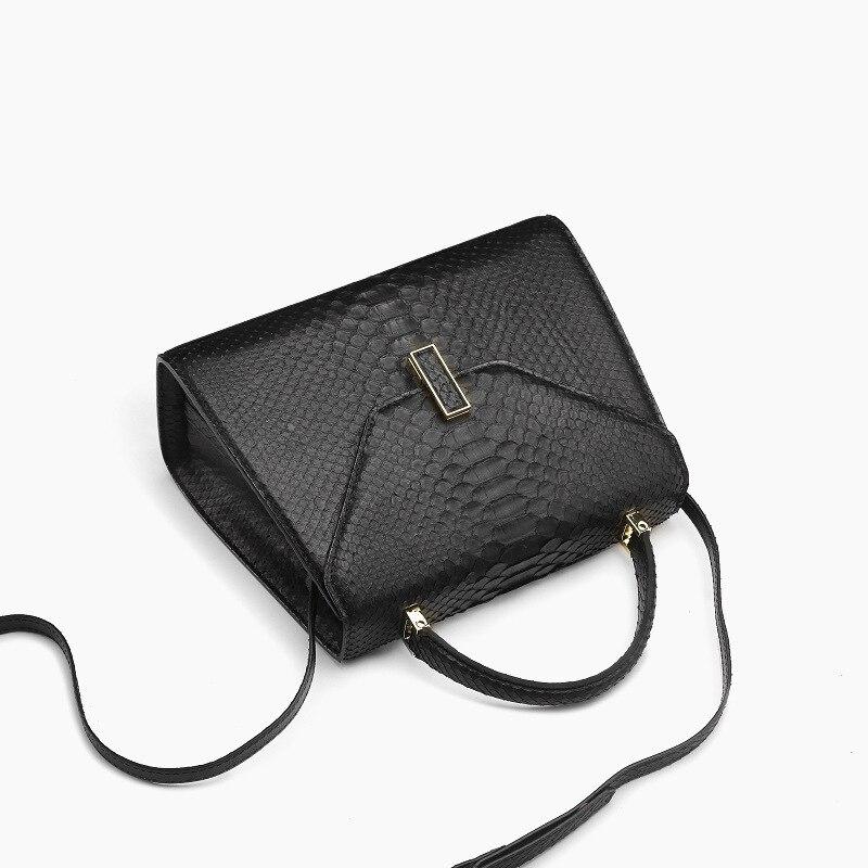 McParko Luxury Snake Skin Shoulder Bags Women Handbag Genuine Leather Python Handbags Ladies Bags Fashion Black White Hand Bag