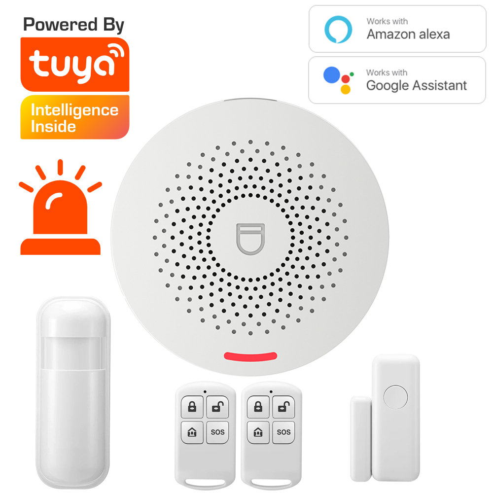 Tuya WiFi Smart Kit System Home Security Alarm Support Google and Alexa Host with Sound Function Smar Life App Control