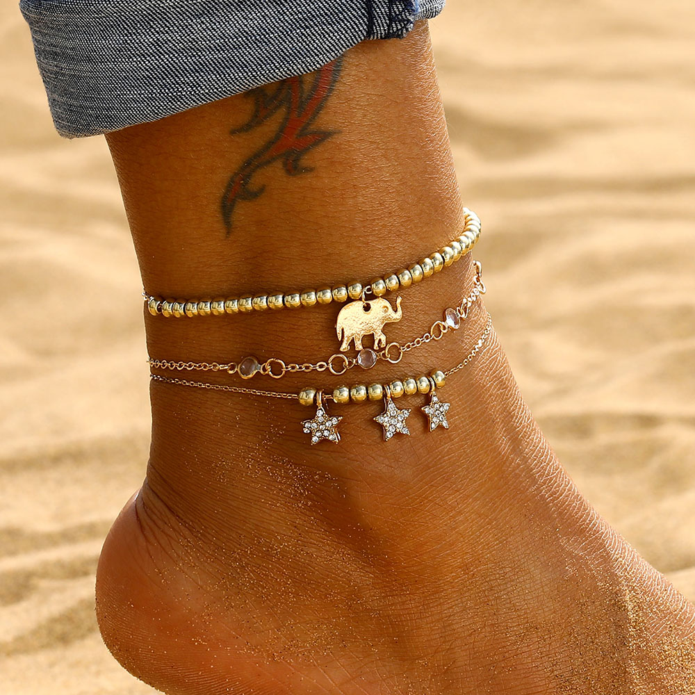 Vintage Ankle Bracelet Elephant Stars Gold Anklets For Women Leg Bracelet Boho Jewelry Beach Accessories Crystal Foot Anklet
