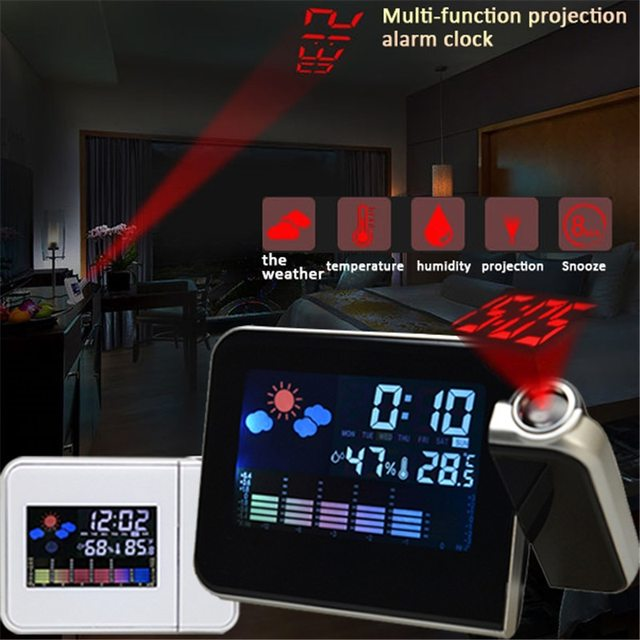 LED Digital Projection Alarm Clock Temperature Thermometer Desk Time Date Display Projector Calendar USB Charger Table Led Clock 2