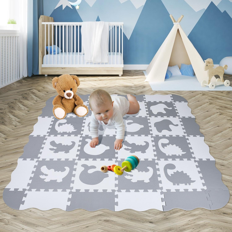 EVA Foam Play Mat Baby Puzzle Floor Mats Fences Carpet Pad Toys For Kids 30*30*1cm Education And Interlocking Tiles White Gray