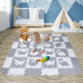 EVA Foam Play Mat Baby Puzzle Floor Mats Fences Carpet Pad Toys For Kids 30*30*1cm Education and Interlocking Tiles white gray